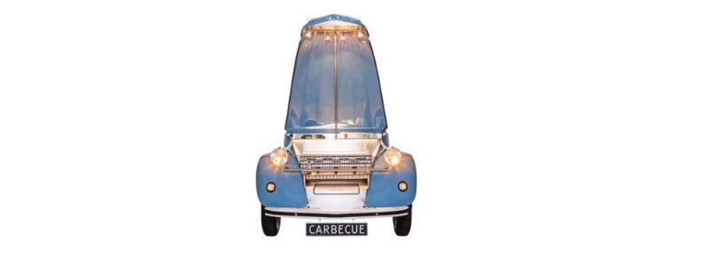 carbecue citroen 2cv bbq blauw