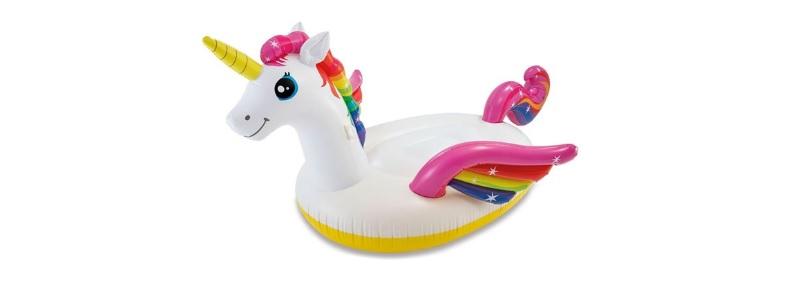 intex opblaasbare unicorn wit 201x140x97cm